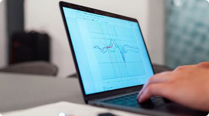 Graphs on a laptop screen