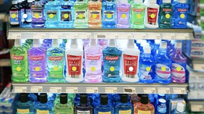 Brightly coloured products on a supermarket shelf