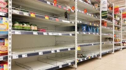 Empty shelves in a Maxima supermarket. Shortages of goods