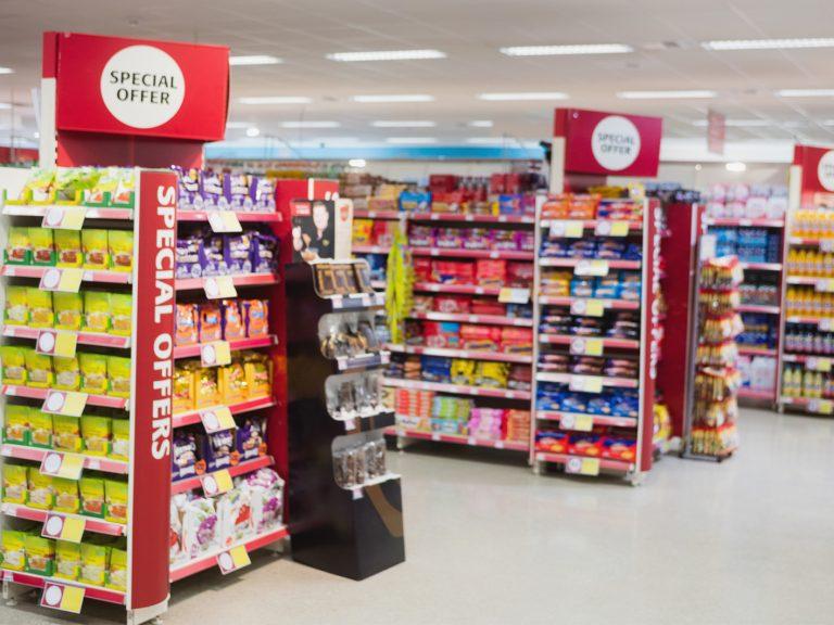 Special offer promotions on supermarket shelves